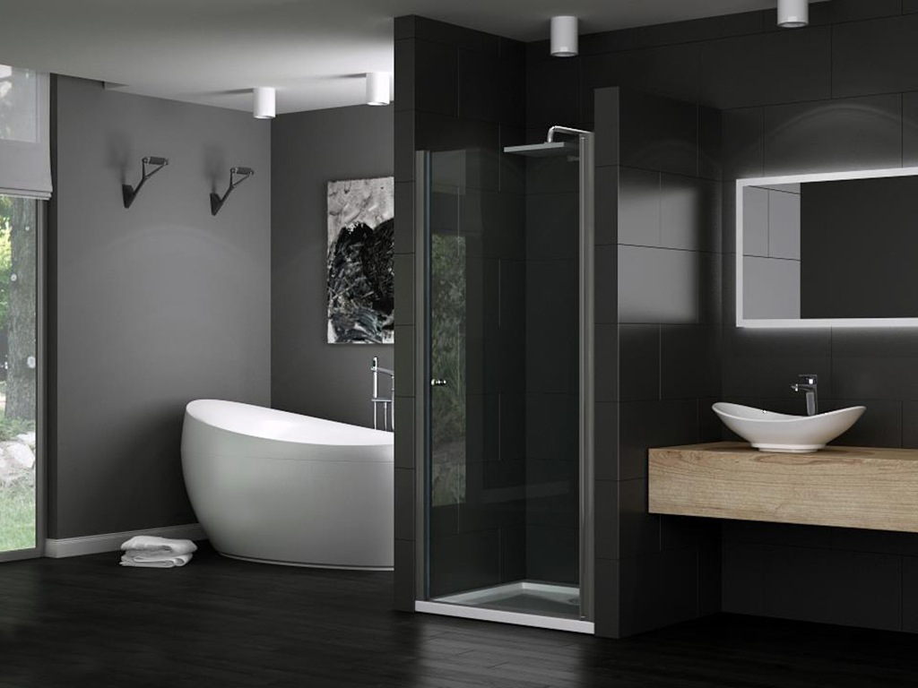 levidor dusche nischent r duscht r nische glas duschkabine duschwand 8mm chrom ebay. Black Bedroom Furniture Sets. Home Design Ideas