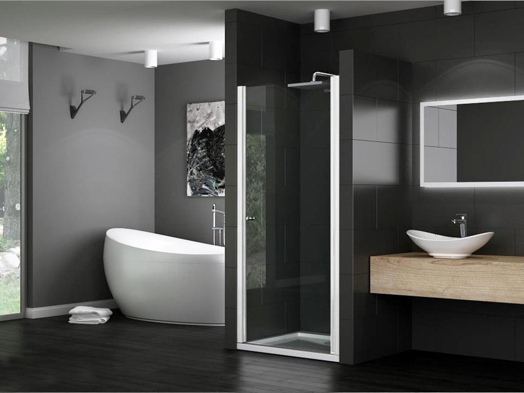 dusche nischent r duscht r nische glas duschkabine duschwand 8mm levidor weiss ebay. Black Bedroom Furniture Sets. Home Design Ideas